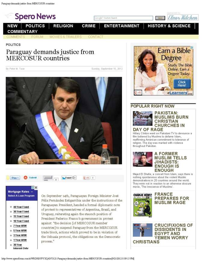 Paraguay demands justice from MERCOSUR countries