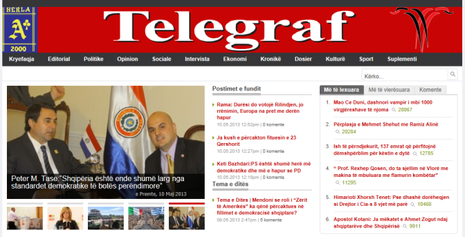 Peter Tase, Front page of Gazeta Telegraf, May 10th, 2013