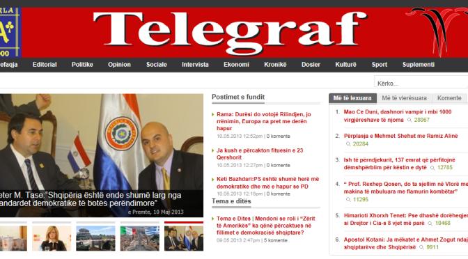 Peter Tase, Front page of Gazeta Telegraf, May 10th, 2013